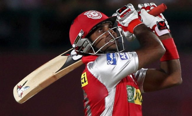 Kings XI Punjab\'s R Sathish plays a shot against Delhi Daredevils during the IPL 6 match...