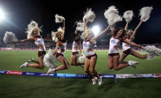 Cheer girls during the IPL6 match between Delhi Daredevils and Kings XI Punjab in Dharamshala...