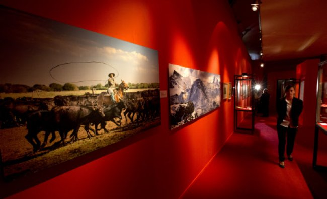 Photographs are displayed during the unveiling of the exhibition Argentina. The Gaucho, Tradition...