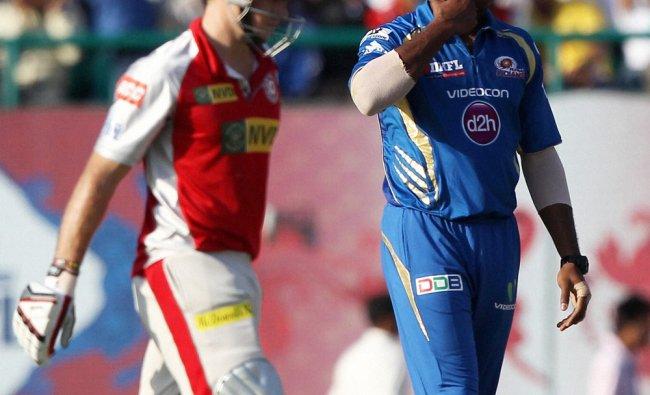 Mumbai Indians\' K Pollard celebrates the fall of Kings XI Punjab\'s D Miller\'s wicket...