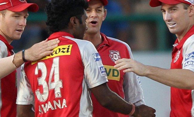 Kings XI Punjab\'s P Awana celebrates wicket of Mumbai Indians\' A Raydu...