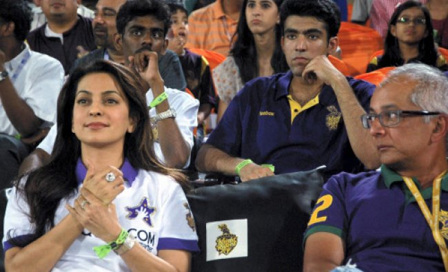 Co- owner of KKR Juhi Chawla watches her team\'s match with Sunrisers Hyderabad in IPL 6...