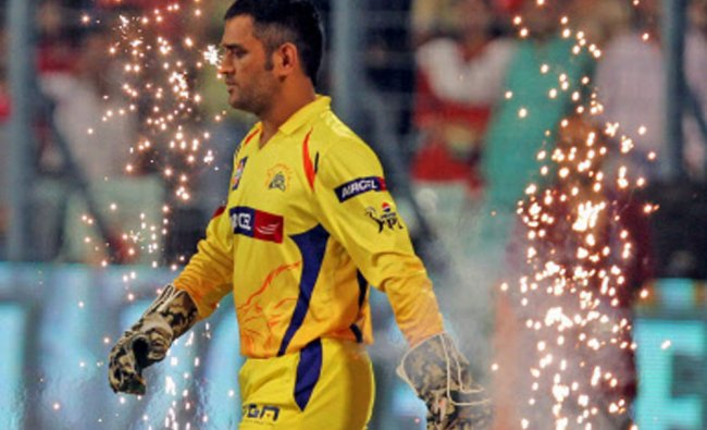 Chennai Super Kings captain M.S.Dhon enters the field at the start of IPL6 final against Mumbai...