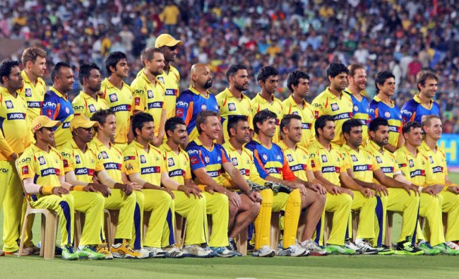 Chennai Super Kings Cricketers during photo session ahead of IPL6 Final match against Mumbai Indians
