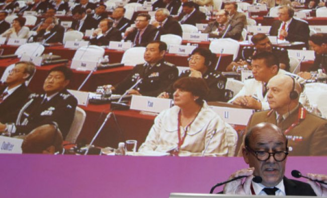 France\'s Minister of Defence Jean-Yves Le Drian speaks during the fifth plenary session...