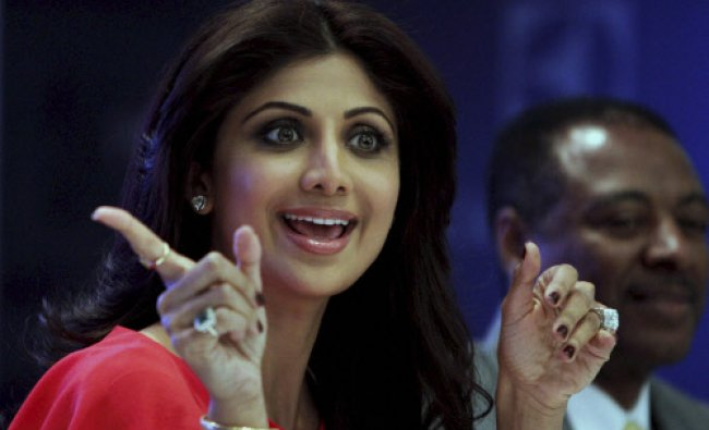Bollywood actress Shilpa Shetty during the launch of a water purifier in New Delhi on Saturday.