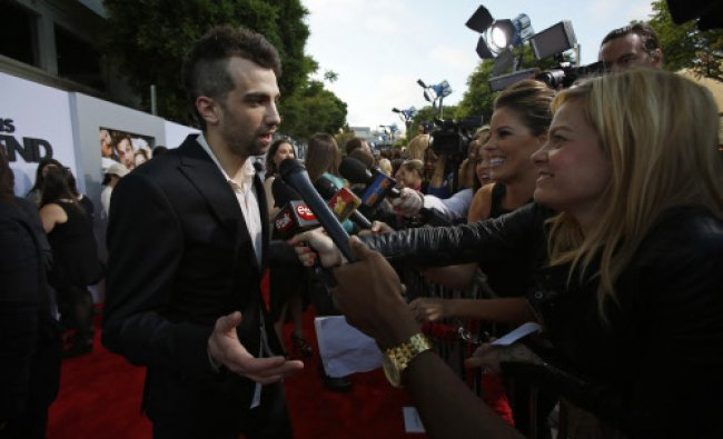 Cast member Jay Baruchel is interviewed at the premiere of \'This Is the End\' at the Regency...