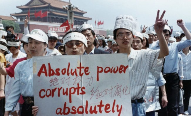 A group of journalists supports the pro-democracy protest in Tiananmen Square in Beijing...