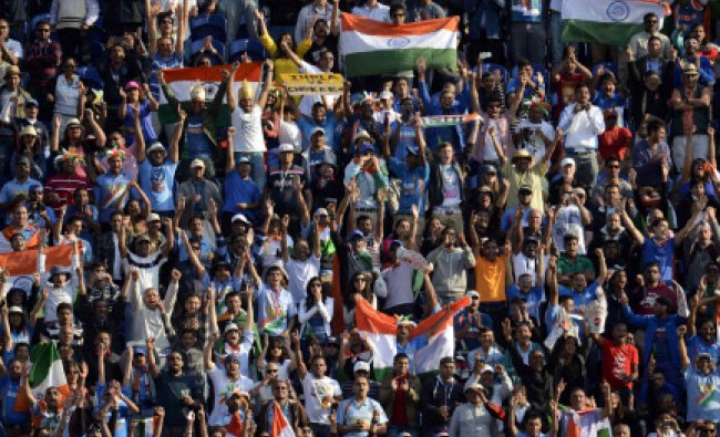 Fans cheer as India wins their ICC Champions Trophy group B match against South Africa at Cardiff...
