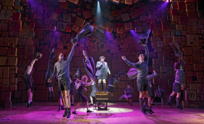 The cast of \'Matilda The Musical,\' during a performance in New York. \'Matilda: The Musical,\'...
