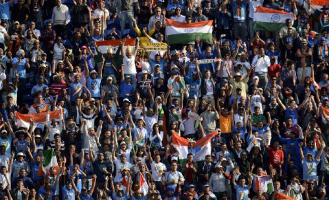 Fans cheer as India wins their ICC Champions Trophy group B match against South Africa...