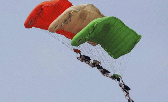 Para troopers perform during golden jubilee celebration of Central Air Command at Bamrauli in...