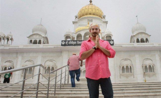 Bollywood actor Niel Nitin Mukesh visits Bangla Saheb Gurdwara in Delhi on Tuesday to pray...