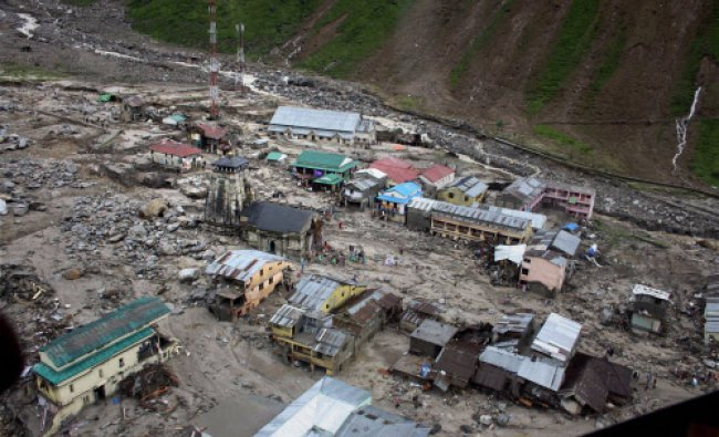 A view of the washed off buildings area near Kedarnath Dham in Uttarakhand on Tuesday following...