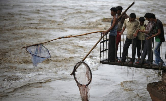 People hold nets to catch floating watermelons in the flooded waters of river Yamuna after heavy...