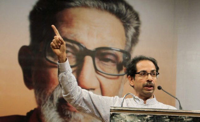 Shiv Sena President Uddhav Thackeray addressing party workers on the 47th foundation day of the...