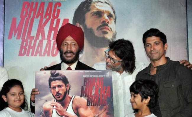 Former athlete Milkha Singh with actor Farhan Akhtar at the music launch of film Bhaag Milkha...