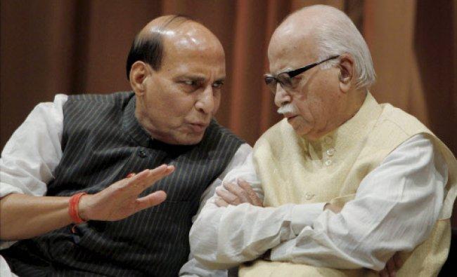 Senior BJP leader L K Advani and BJP President Rajnath Singh during the 61st death anniversary...