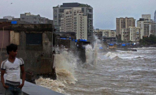 High tide at Worli sea face in Mumbai on Tuesday.