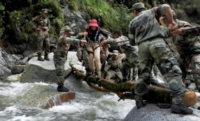 Army personnel busy in rescue operations at Pindari glacier recently.