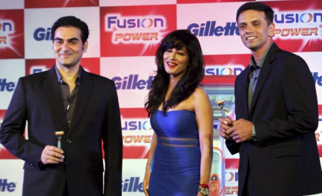 Rahul Dravid, Chitrangadha Singh and Arbaaz Khan at a promotional event in Mumbai on Thursday.
