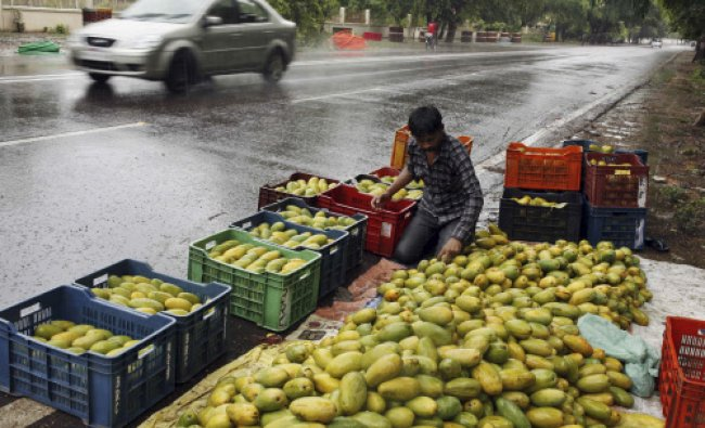 A fruit vendor displays mangoes by a roadside amidst monsoon rains in Allahabad, India, Sunday...