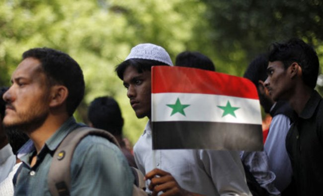 A demonstrator holds the Syrian flag during a protest
