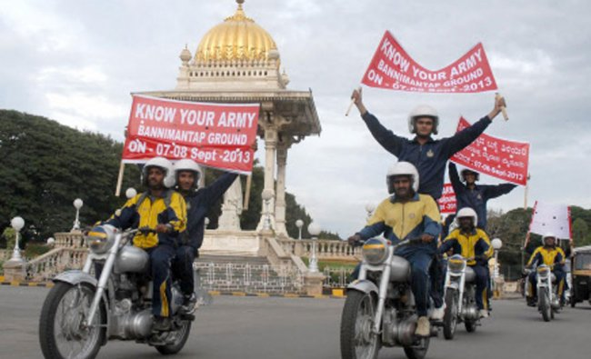 Army men take out a bike rally \'Know Your Army\' at Bannimantap Grounds in Chamaraja Circle, Mysore