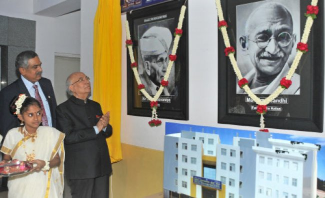 Governor H R Bhardwaj during the inauguration of new building at the Bangalore Press campus