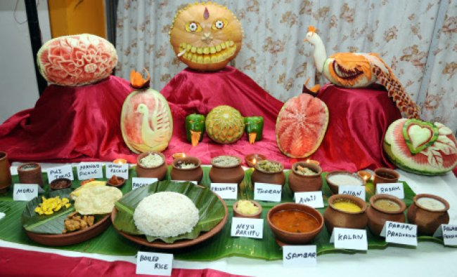 The Onam Feast delicacies prepared by the students of Srinivas College of Hotel Management...