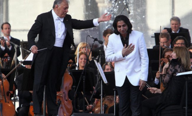 Renowned music conductor Zubin Mehta with Music Composer Abhay Rustum Sopori after performing...