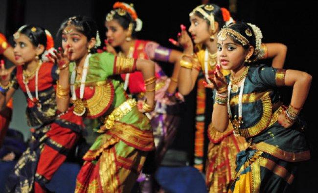 Child artist from Nrityavidya Nilaya performing Bharatnatya during the \'Chiguru\' an dance programme.
