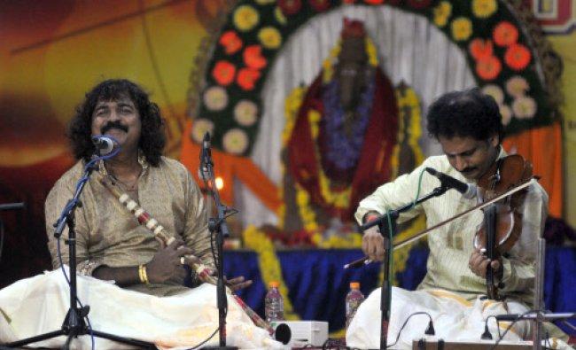 Flutist Praveen Godkhindi and Violinist Mysore M Manjunath perform during Jugalbandi at Heritage...