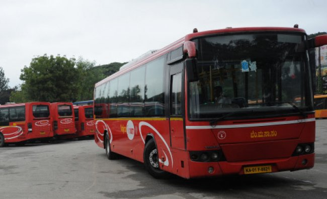 BMTC Volvo buses were standstill as drivers went on a sudden strike from 6am to 10:30am demanding...