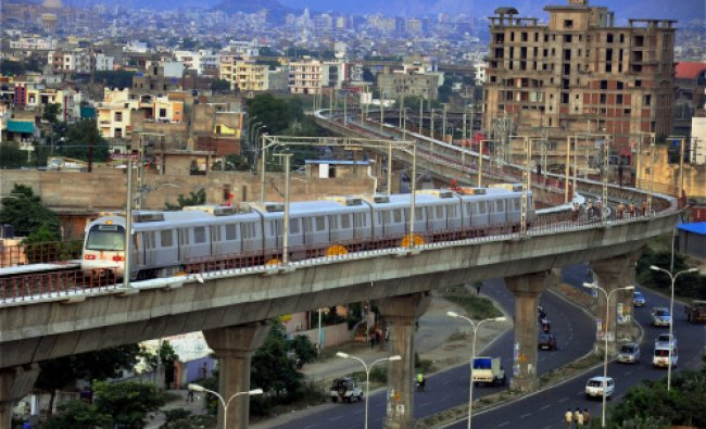 First trial run of the Jaipur Metro in progress on an elevated stretch near Mansarovar in Jaipur...