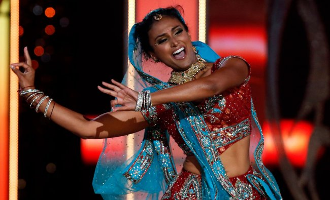 Miss America contestant, Miss New York Nina Davuluri performs a traditional Indian dance during...