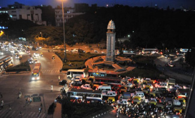 An evening view of Hudson circle in Bangalore on Monday.