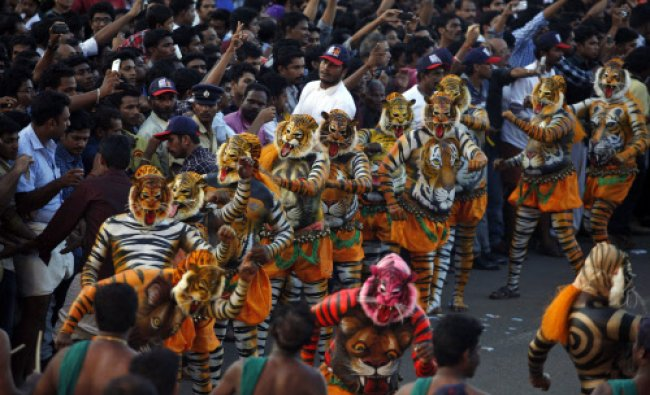A crowd gathers to watch the annual \'Pulikali\' or Tiger Dance in Thrissur, in the southern...