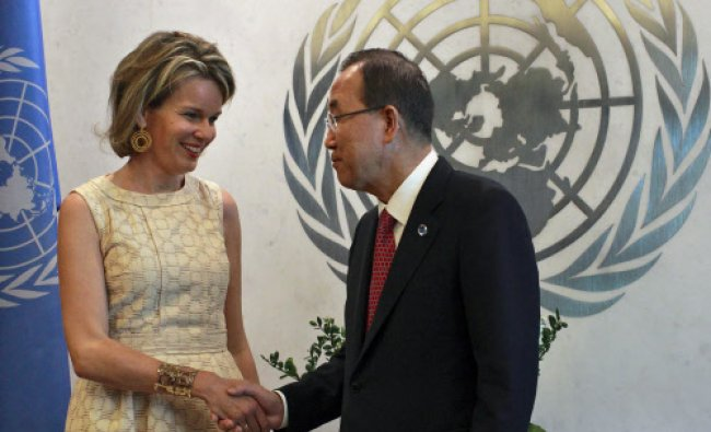 Queen Mathilde of Belgium shakes hands as she meets with United Nations Secretary-General...