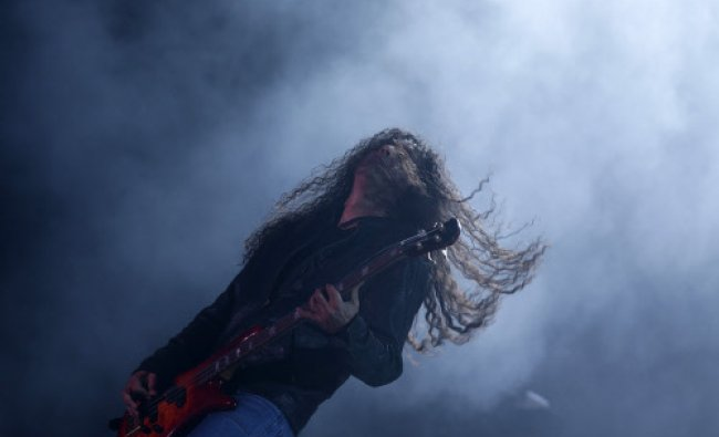 Mike Inez, member of the U.S. band Alice in Chains performs at the Rock in Rio Music Festival...