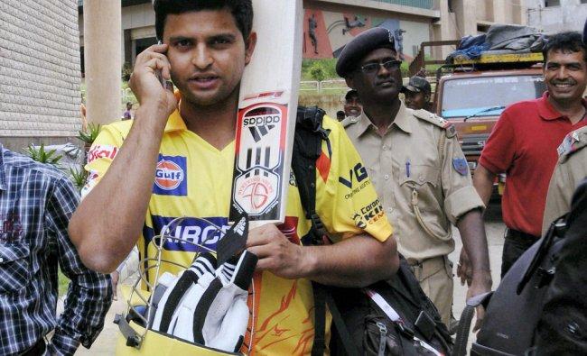 Suresh Raina arrives at Jharkhand State Cricket Association stadium for a practice match ...