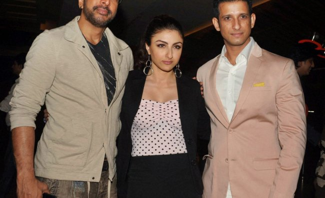 Sharman Joshi and Jaaved Jaffrey with actress Soha Ali Khan during a music launch event in Mumbai .