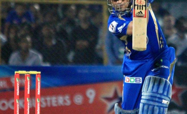 Sachin Tendulkar plays a shot during the CLT20 match against Rajasthan Royals in Jaipur on Saturday.