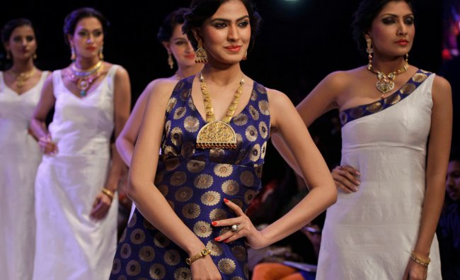 Models display creations by Hari Darshan during India Jewelery and Fashion Week (IJFW) in...