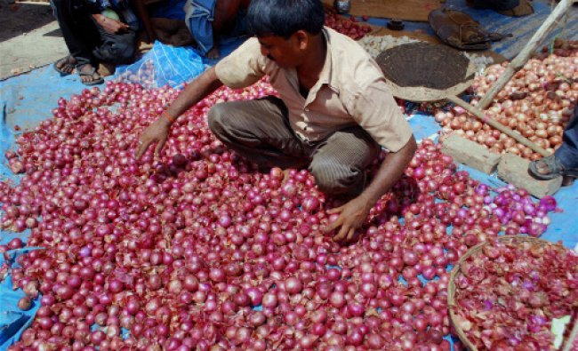 A retail shopkeeper sorting onions at a market in Allahabad on Monday. PTI Photo