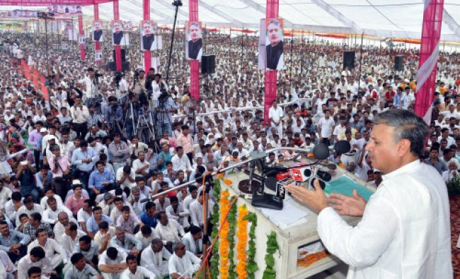 MP Rao Inderjit Singh, who has resigned from Congress, addresses a massive rally in Rewari on...