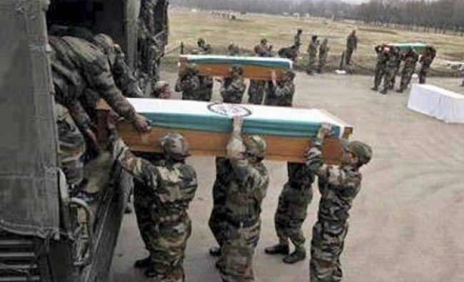 Bodies of army jawans killed in militant attacks being sent to their homes from Jammu airport on...