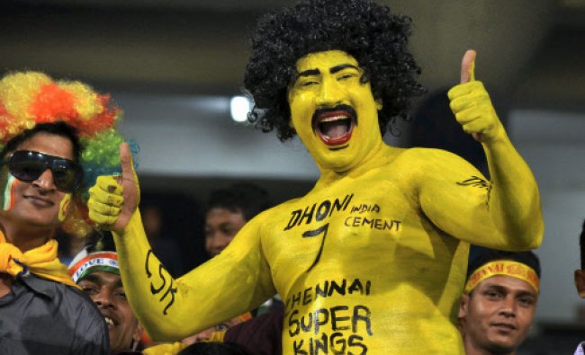 Chennai Super Kings supporters during during the CL T20 match against Sunrisers Hyderabad at...
