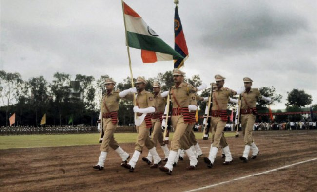 Police cadets during their passing out parade at Maharashtra Police Academy in Nashik on Friday. PTI