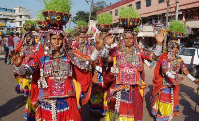 Artists participating in the inaguaral procession of four-day folk-cultural event, Alva\'s Vishwa...